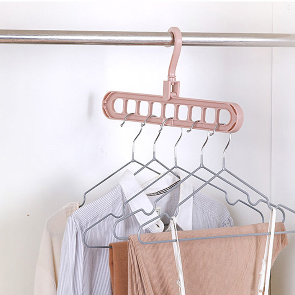 Rotatable 9-hole Non-slip Drying Rack Magic Circle Clothes Hanger Clothes Drying Rack Multifunction PP Hangers Storage Racks