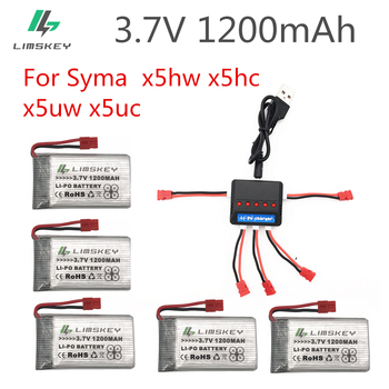 3.7V 1200mAh Lipo Battery For Syma X5uw x5uc x5hw x5hc RC Quadcopter Upgrade Capacity 3.7 V 1200 mAh Battery With 5 in 1 Charger image