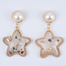 New European and American Five-pointed Star Pearl Earrings Alloy Pendant Earrings Fine Jewelry цена