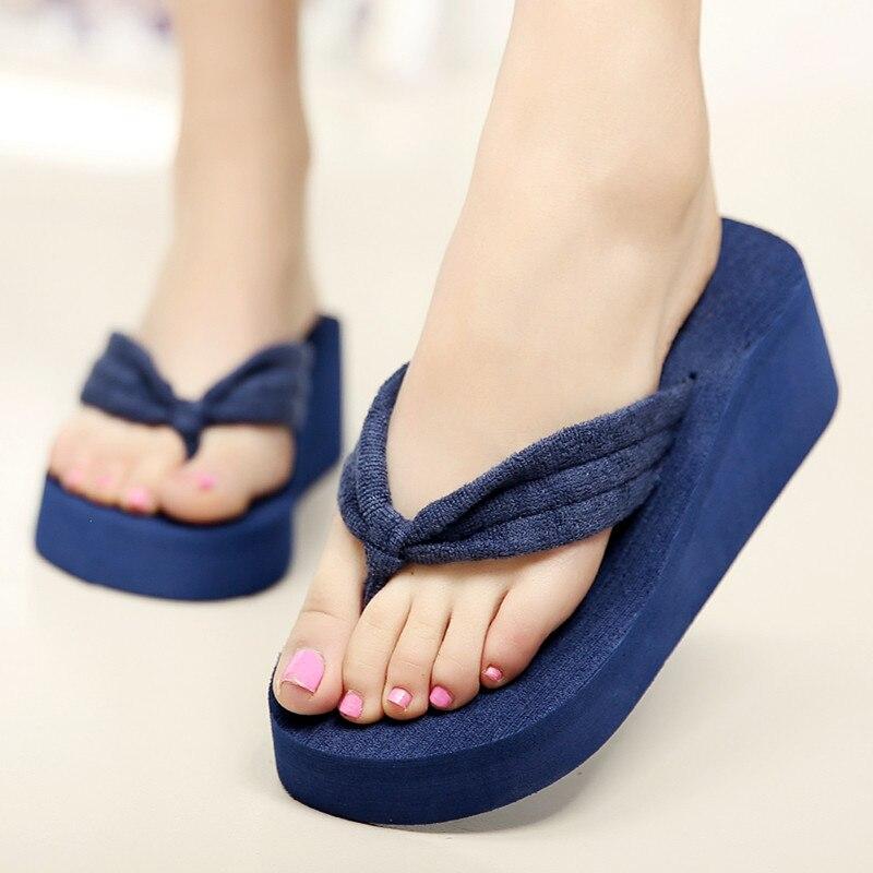 Size 42 Women Flip Flops Summer Wedges Platform Slippers Beach Shoes Ladies Thick Heel -3796