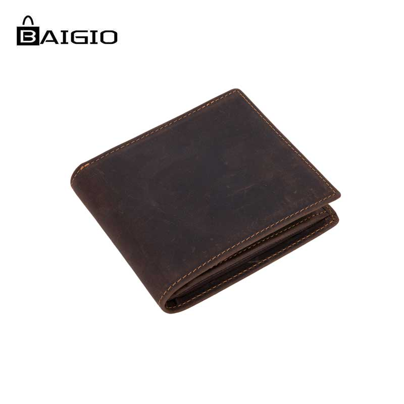 Baigio 100 Genuine Leather Brown Wallet Crazy Horse Leather Bifold Cowhide Top Quality Wallet Vintage Style