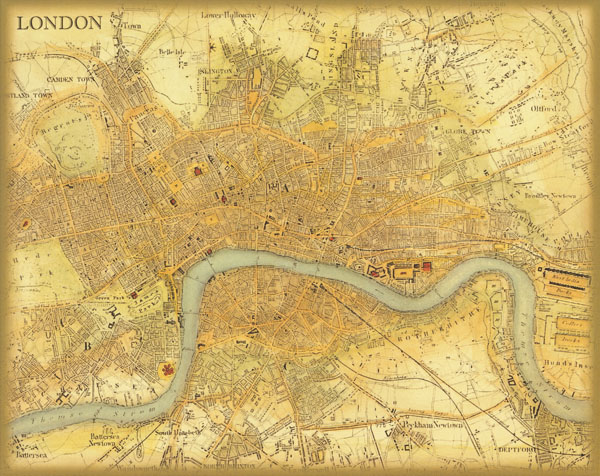 Vintage London Map Retro Oil Painting Print On Canvas Picture Cafe