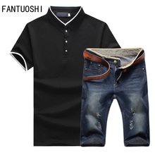 Hot sale Summer New Tops and Denim shorts 2 pieces set Large size Men Fashion casual Solid Sportswear Set