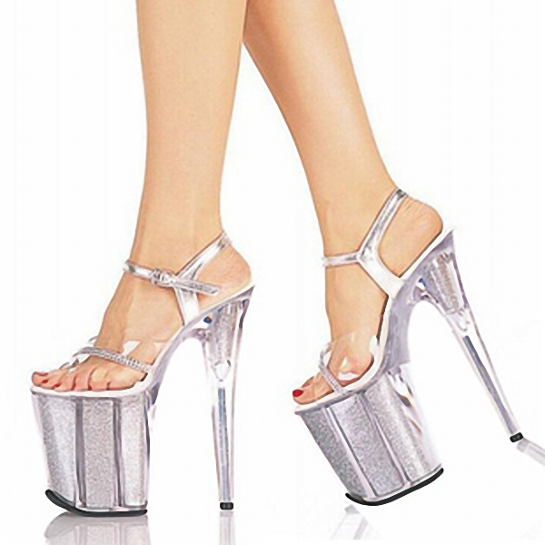 ФОТО 2016 Sexy 20cm Temptation Crystal Sandals Ultra High Thin Heels Platform 8 Inch Clear Shoes Sexy Stripper Shoes