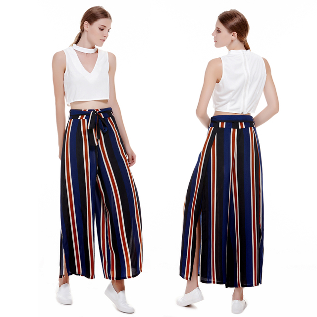 aa8d0f3299dc 2018 New Fashionable Women Casual Pant Elastic Colourful Vertical Stripes  Side Vent High Waist Trousers Loose Wide-leg Pants