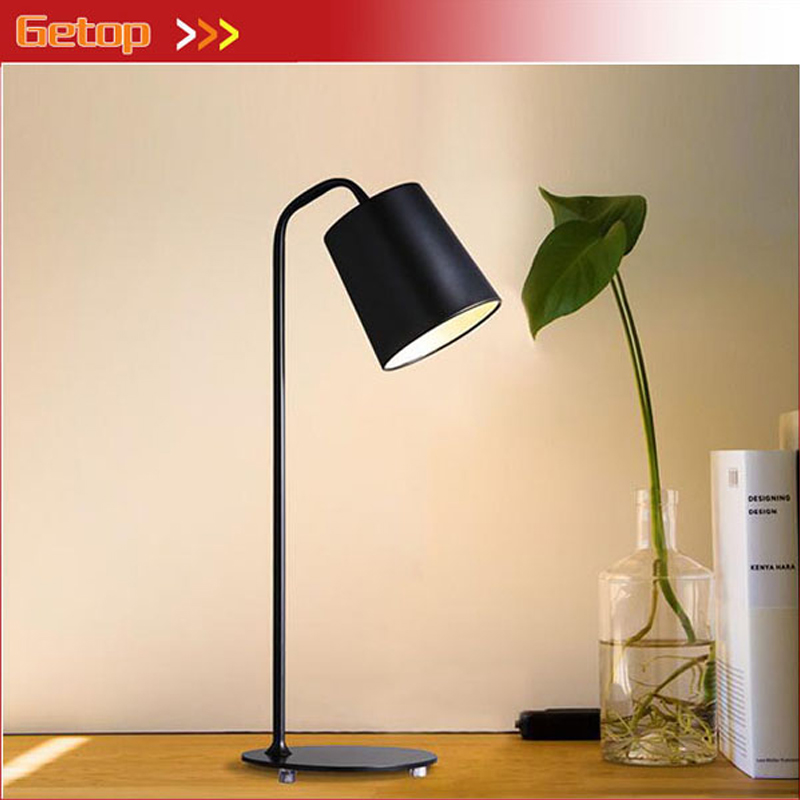 купить GETOP Nordic Modern Table Lamp Black White Iron Desk Lamp Cafe Decor Lighting Fixtures Office LED E27 Lamp Read Lamps Fixture по цене 5047.45 рублей