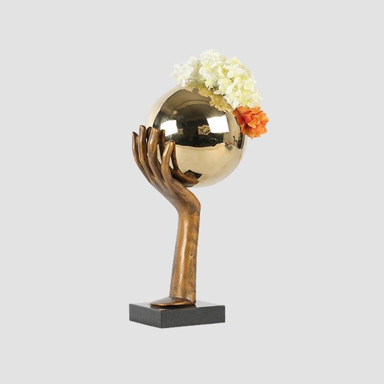 Modern Minimalist Art Metal Flower Palm Ball Stainless Steel Ornaments Villa Desktop