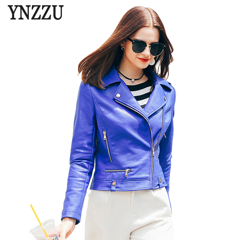 YNZZU European Style Blue Women PU   Leather   Jackets 2017 Fashion Zipper Slim Short Motorcycle   Leather   Jacket Coats O234