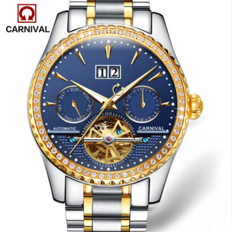 цены Carnival military tourbillon hot automatic mechanical brand men's watches luminous waterproof multifunctional full steel watch