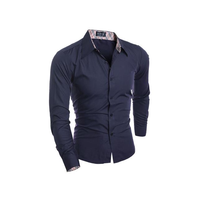 Botón de puño Francés Camisa de Vestir PARA HOMBRE 2016 Nueva Moda de lujo Hierro no rayada Manga Larga delgada de Negocios de Alta Calidad formal camisa