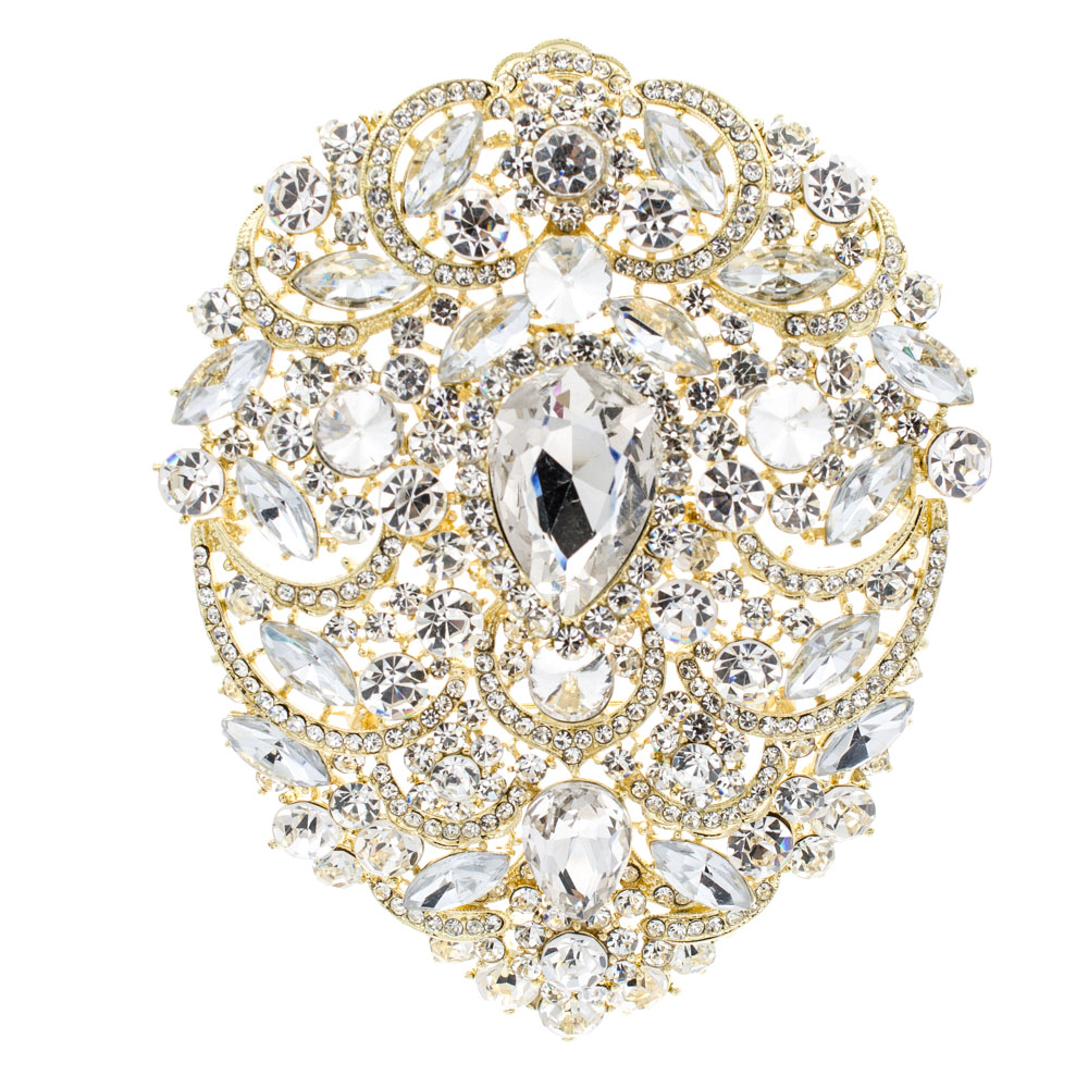 4.9″ Big Huge Drop Rhinestone Crystal Flower Brooch Pin Broach Wedding Bride Jewelry 4045