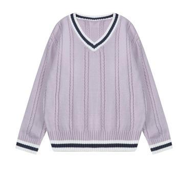 2018 Musim Gugur dan Musim Dingin Baru Lengan Panjang Leher V Longgar Merajut Pullover Sweater Wanita