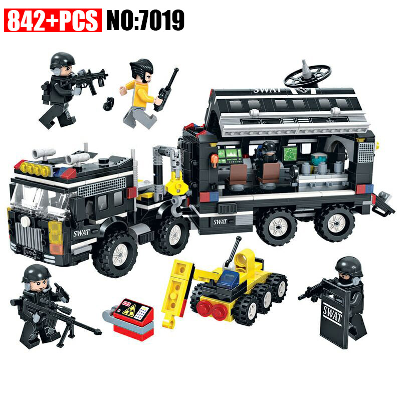 Winner 7019 City Special Police Series Building Blocks Special Police Command Car Bricks Children's Educational Toys For Gifts new fx3u 64ccl special function blocks