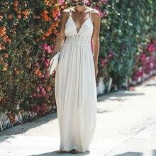 3beace09ff46 Evening Hollow Out Beach Halter Maxi Pleated Dress Women Boho Sleeveless  Backless White Lace Dress Summer