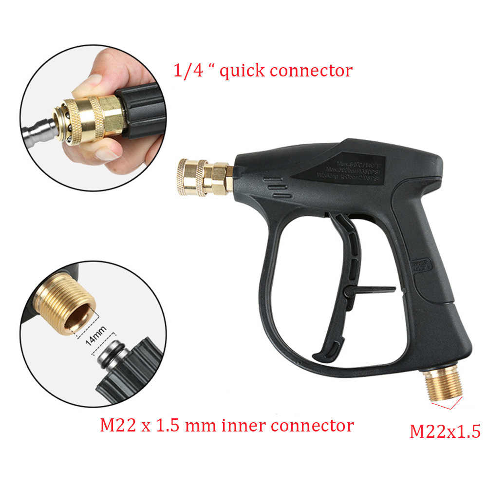 """Hoge Druk de Auto Wasmachine M22 x 1.5mm Sneeuw Foam Gun met 5 1/4 """"Quick Release Nozzles voor Auto wasmachine Water Gun Cleaning Tools"""