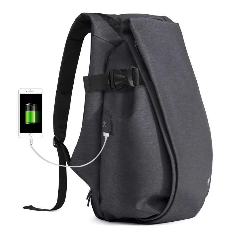 BISON деним usb зарядка Мужской рюкзак для отдыха, путешествия рюкзак 15,6 дюймов школьные рюкзаки для подростков большой емкости мужской Mochila N2794-1