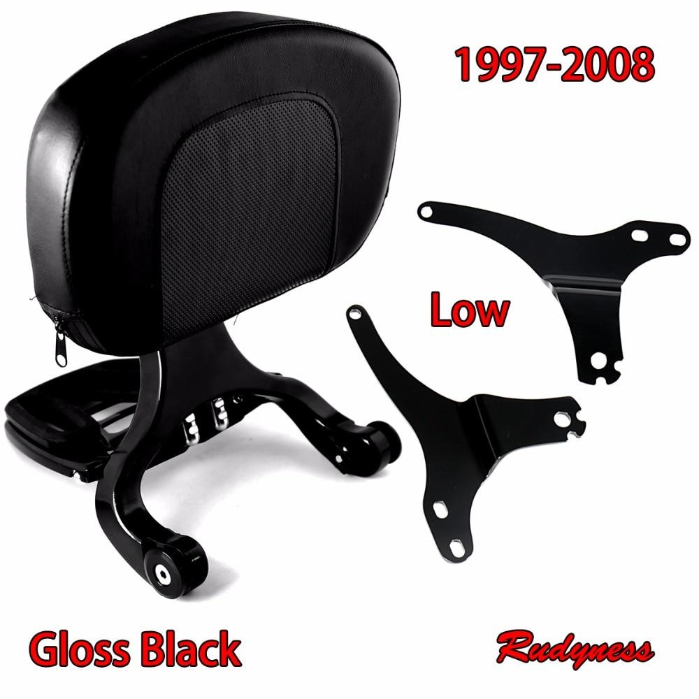 Gloss Black Low Fixed Mount&Driver Passenger Backrest For Harley Touring Street Glide Road King 1997-2008 Models