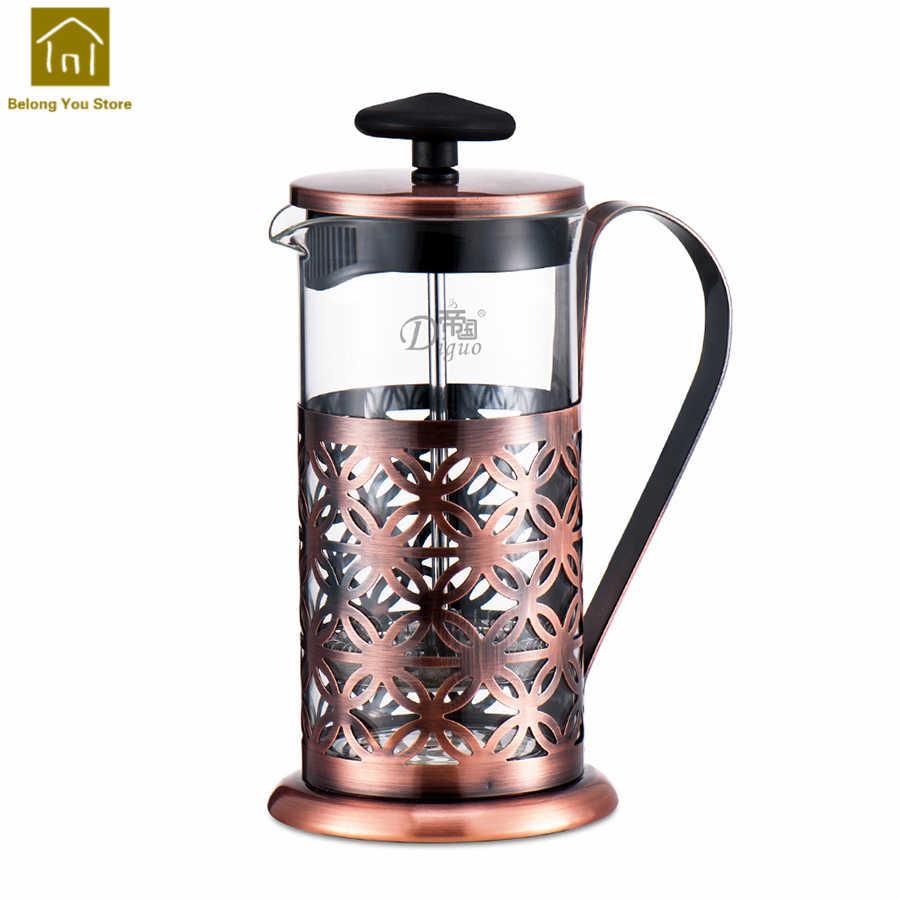 Macetas de café clásicas Filtro de taza de presión para el hogar taza de acero inoxidable máquina de café de hielo Prensa Francesa Vidrio taza Prensa WKB003