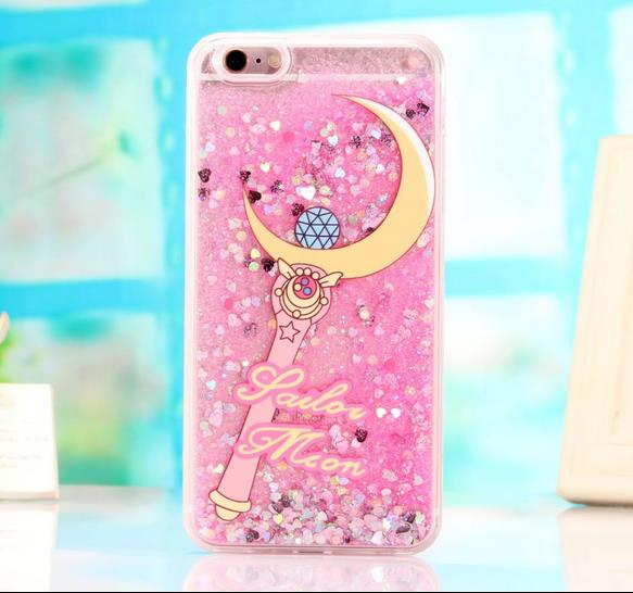 sale retailer bdd93 5c0ae US $2.99 |Glitter Dynamic Liquid Quicksand Case Cover For iPhone 6 s plus 7  plus Sailor Moon girl magic design Phone Case cover-in Fitted Cases from ...