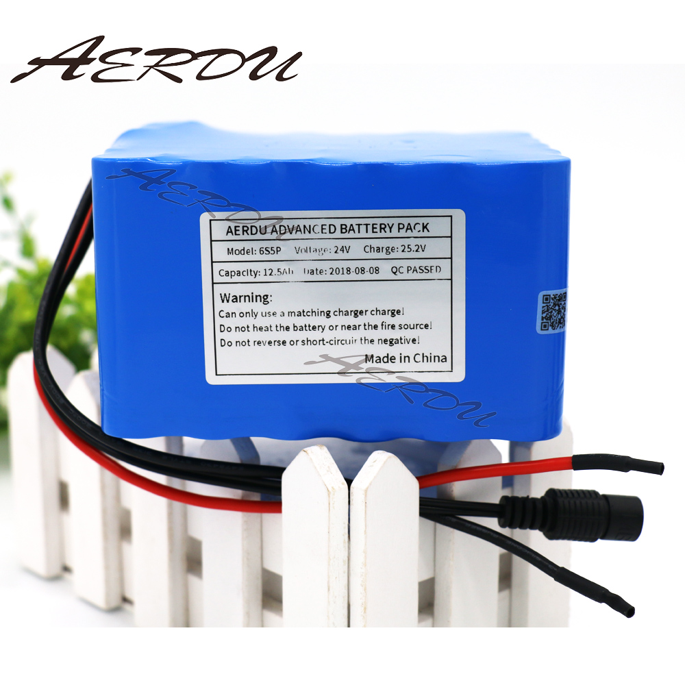 AERDU 6S5P 24V 12.5Ah 25.2V Li-Ion battery pack 18650 lithium batteries for electric motor bicycle ebike scooter with BMS 7s3p 24v 10 5ah 29 4v ncr18650ga li ion battery pack lithium batteries for small electric motor bicycle ebike scooter with bms