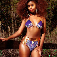 Women African Print Brazilian Bikini Swimsuit Women 2017 New Summer Bikini Set Swimwear Push Up Padded