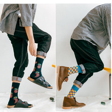 2018 Brand Men's Happy Socks Quality 40Colors 20Choices US9-13 Plaid Diamond Animal Cherry Funny Combed Cotton Socks 2Pairs/Lot