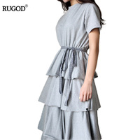 2017 Summer Dresses Multilayered Fold Long Dress Sweet Ball Gown Short Sleeve Female Dress Vestido Feminino