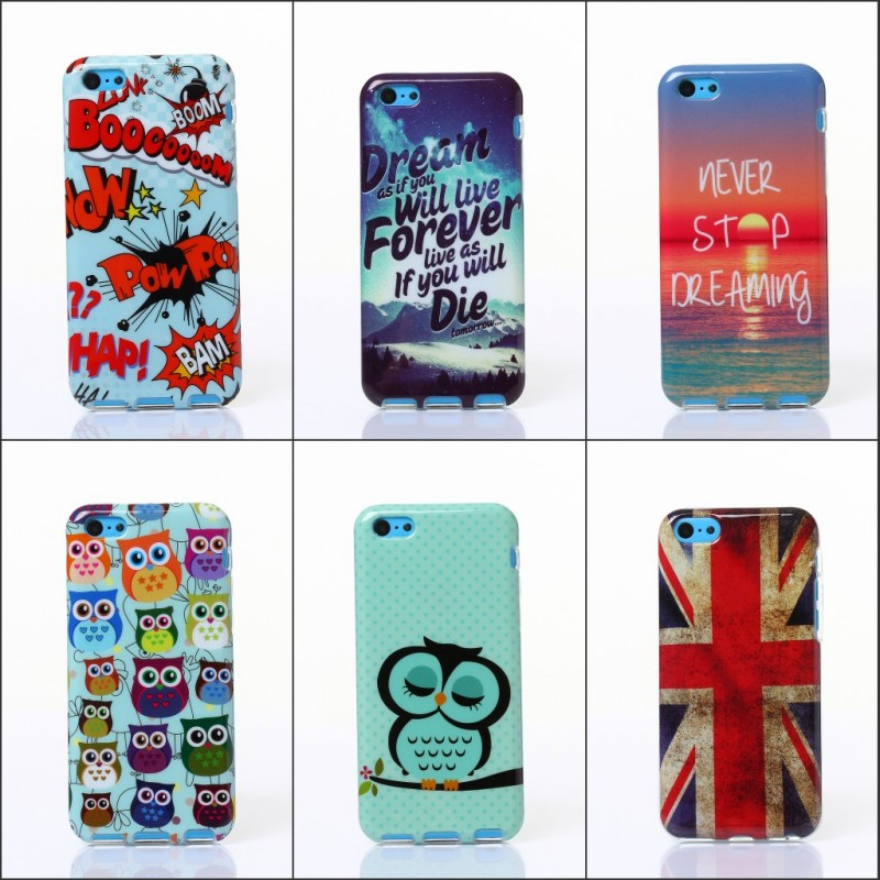 For Apple iPhone 5C Owl Tower Flag IMD TPU Silicone Soft Case Back Skin Cover Cell Phone Protect ShockProof Bag