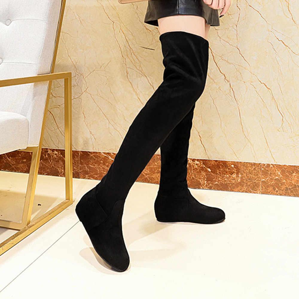 รองเท้าผู้หญิง BOOT ฤดูหนาวรองเท้าผู้หญิงรองเท้าเข่าสูงสีดำยาวรองเท้าสตรีรองเท้าผู้หญิงแฟชั่น Botas Mujer Bottes femme