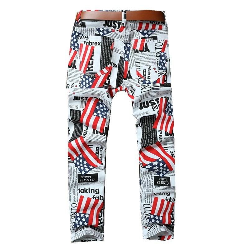 Décontracté Fit Hommes Motif Nous Slim Pantalon Imprimé Cargo Journal Drapeau Droit 3d Longues De Moulant Blanc Zardwq4a