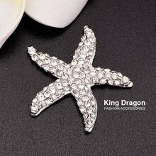 цена на Free Shipping Flat back Starfish Embellishment button Used On Wedding Invitation 30mm 20pcs/lot Silver Color