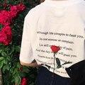 Halajuku Estilo Solto Carta Rose Impresso Moda Casual Manga Curta Tee Feminino