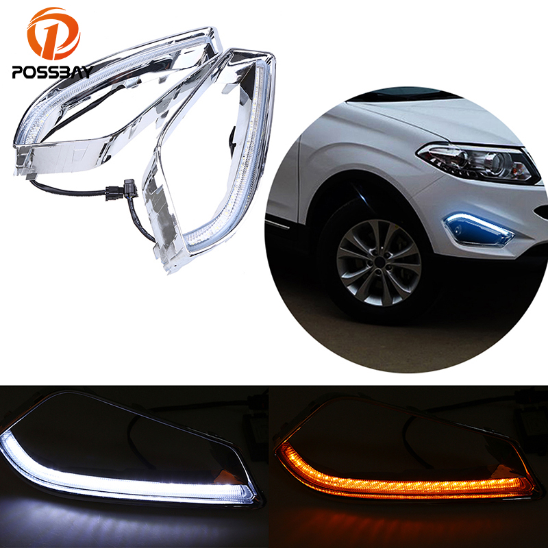 POSSBAY Turn Signal Style LED Car DRL Daytime Running Lights Fog Lamp For Chery Tiggo 5(T21) 2013-2015 White Yellow Bulb led auto car drl daytime running lights gloss style fog lamp with turn off and dimmer function case for 2012 ford focus 3