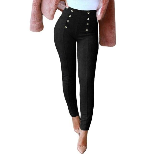 calidad primero auténtico zapatos de otoño € 11.4 35% de DESCUENTO Joggers mujer Slim Faux Suede pantalones sólidos  botones laterales cremallera elegante Fitness Skinny lápiz pantalones de ...