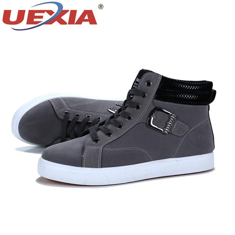 La De Appartements Occasionnels Black Main Mode brown Casual gray Haute Chaussures Hiver D'hiver À Hommes Automne Gris Bottes Uexia Mâle Qualité agAv5wxxq