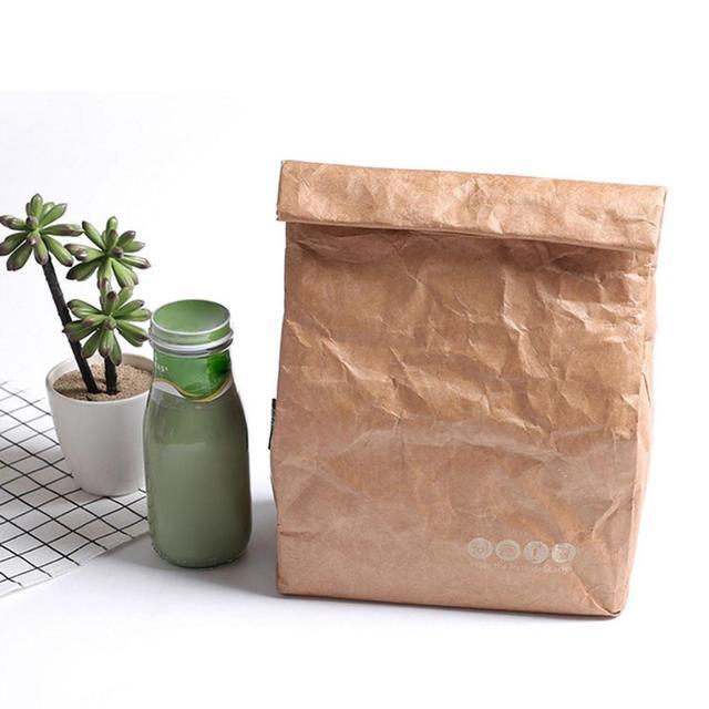 6L Nâu Giấy Ăn Trưa Túi Tái Sử Dụng Hộp Bao Bền Cách Điện Nhiệt Kraft Giấy Túi Snack Mát Dã Ngoại Container Người Đàn Ông 20