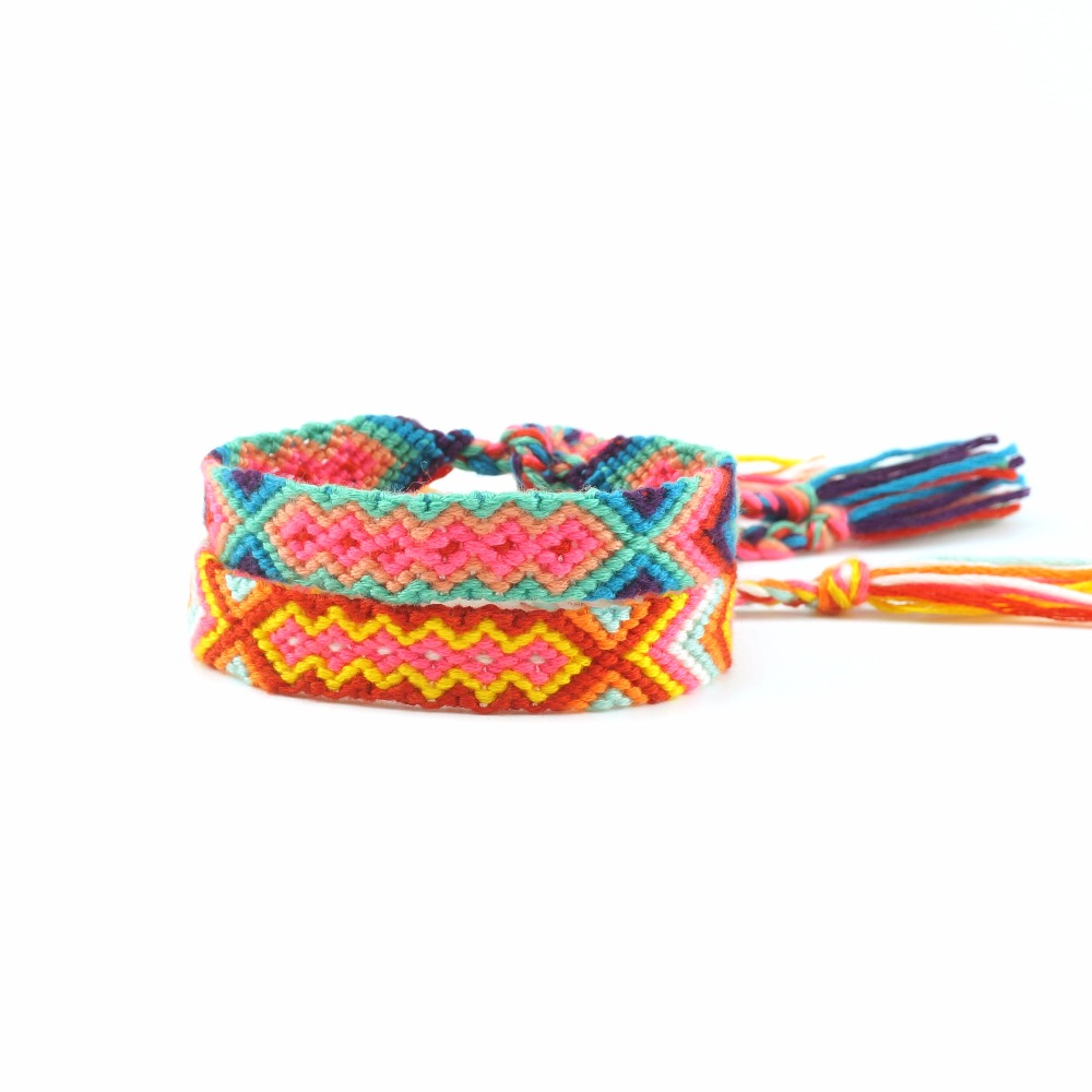 AMIU Handmade Jewelry Dropshipping Friendship Bracelets Adjustable Wrap Cotton Mix-Colour Woven Trendy Rope String For Women Men