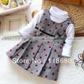 2015 nueva primavera otoño bebé vestido de los niños ropa conjuntos niños camiseta + plaid vestido de niña de moda del todo fósforo de la princesa vestido