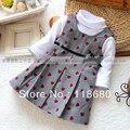 Novo 2015 primavera outono menina vestido crianças define t-shirt + xadrez vestido de moda de todos os jogo vestido de princesa