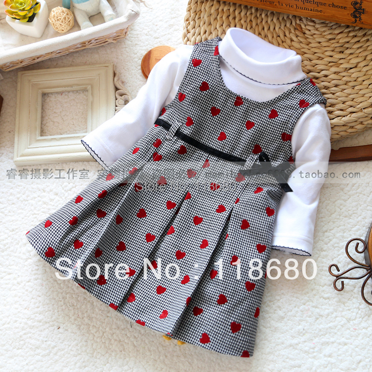 new 2015 spring autumn baby girl dress children clothing sets kids t-shirt + plaid dress girl's fashion all-match princess dress