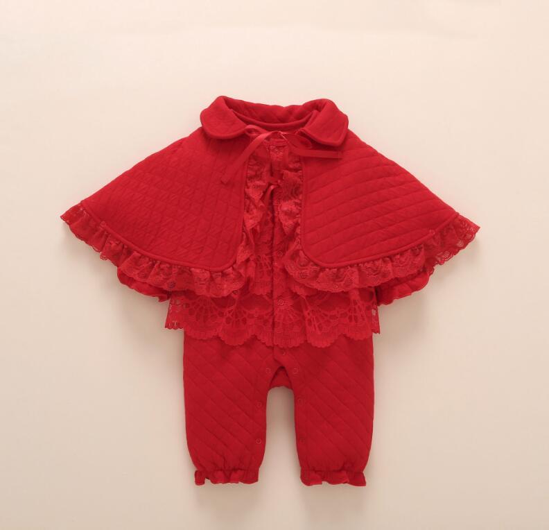 1 комплект осенне-зимней одежды для новорожденных девочек, теплое боди средней плотности с подкладкой, накидка, носки и повязка на голову, Подарочный костюм для малышей 6