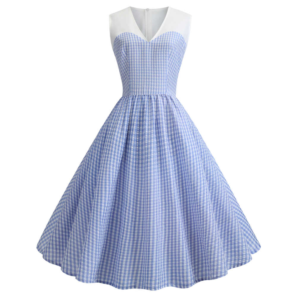 Joineles, синее клетчатое платье с принтом, 60 s, женское ретро платье, v-образный вырез, без рукавов, летнее винтажное платье, Одри стиль Hepburn Rockabilly Vestidos, туники