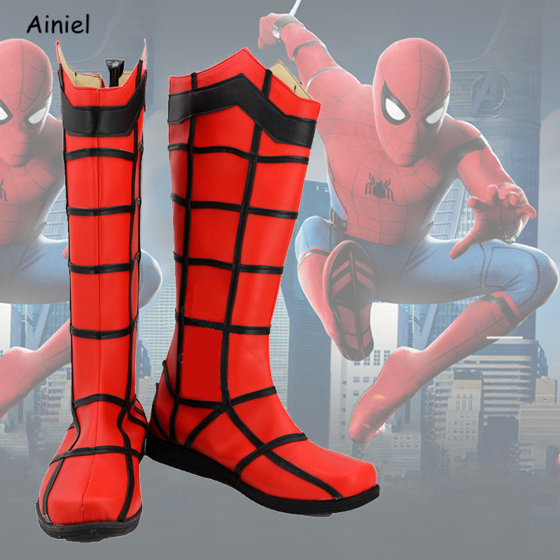 Movie Iron Spiderman Cosplay Shoes Superhero 3D Spider Man Superman Homecoming Boots Cosplay Halloween Party Shoes