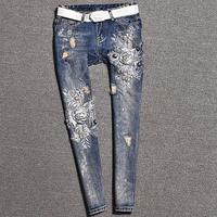 2019 spring autumn fashion women jeans New beading hole embroidered flower skinny pencil jeans