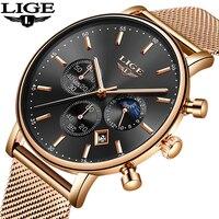 LIGE модные для мужчин s часы лучший бренд класса люкс кварцевые часы для мужчин повседневное тонкая сетка сталь Дата водонепроница