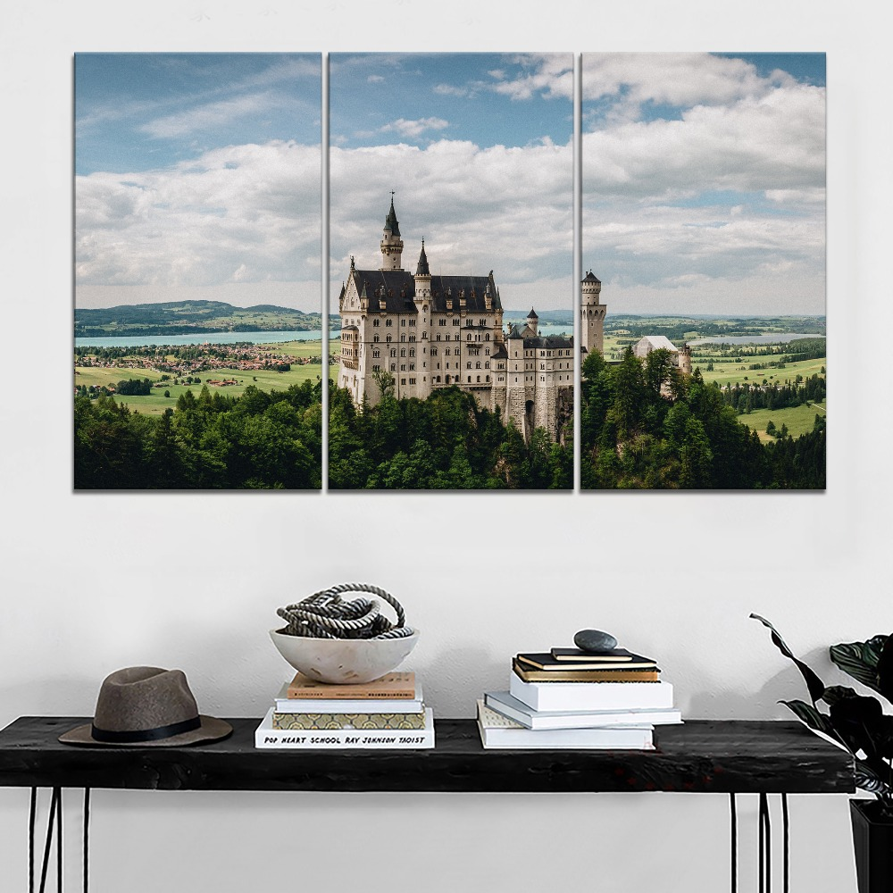 Modern Canvas Printing Type Picture Home Decorative Living Room Or Bedroom Wall 1 Panel Bavaria Germany Neuschwanstein Poster in Painting Calligraphy from Home Garden