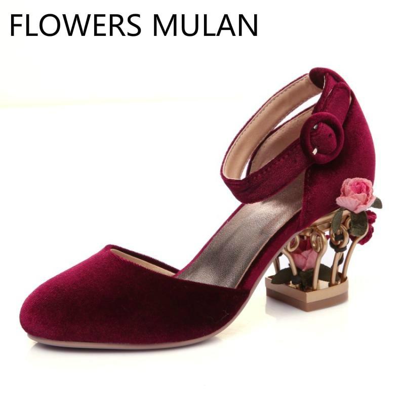 red velvet sandals heels