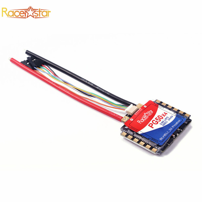 купить Racerstar PG50x4 50A 2-6S Blheli_32 4 In 1 Brushless ESC SBEC 2A/5V for RC Models Drone FPV Racing Multirotor Speed Controller онлайн
