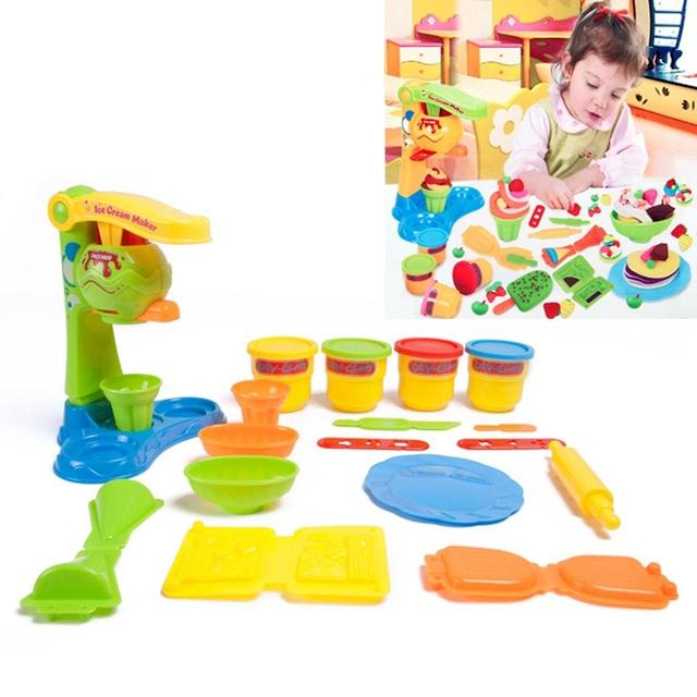 Pretend play toys set argila plasticina brinquedo sorvete crianças ferramentas da cozinha diy play alimentos doces de brinquedo de plástico aleatória cor