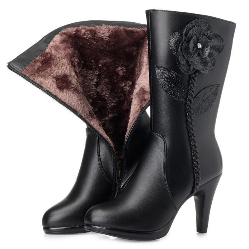Elegant Fashion Fine with High Heel Shoes Woman Boots Flower Real Leather Boots 2018 Autumn Winter